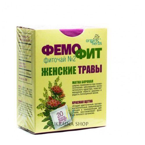 Herbata ziołowa femofit nr 2 (gruszynka jednostronna (borowa matka), czerwona szczotka (rhadiola qudrifida), 20 saszetek x 1,5g marki Fbt