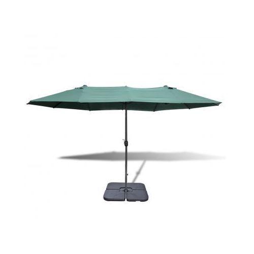 Zielony parasol ogrodowy z aluminiową ramą i przenośną podstawą 2,7 x 4,6 m - produkt z kategorii- parasole ogrodowe
