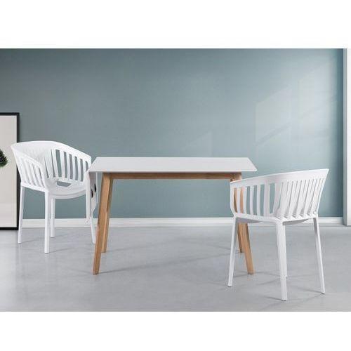 Stół biały - 120x80 cm - kuchenny - do jadalni - MEDIO (7081451553546)