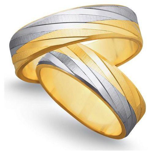 Obrączki z żółtego i białego złota 6mm - O2K/149 - produkt dostępny w Świat Złota