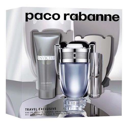 Paco Rabanne Invictus, Zestaw podarunkowy, woda toaletowa 100ml + woda toaletowa 10ml + Żel pod prysznic 75ml