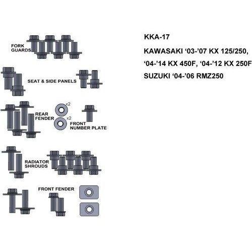 Zestaw śrub do kawasaki 03-07 kx 125/250 04 marki Keiti