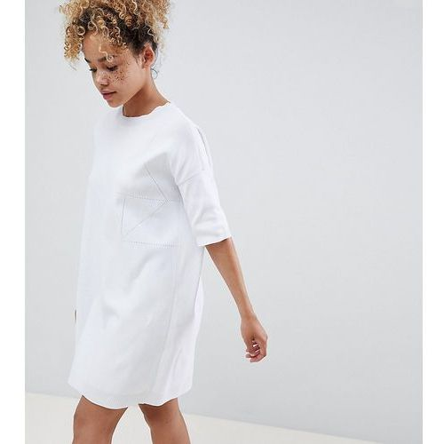 ASOS DESIGN Petite knitted t-shirt dress with pointelle stitch detail - White