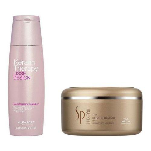 Alfaparf Keratin Therapy Maintenance and SP Luxe Oil Keratin Protect | Zestaw wygładzająco-regenerujący: szampon 250ml + maska 150ml
