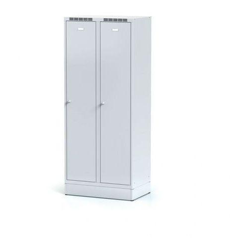 Alfa 3 Metalowa szafka ubraniowa z przegrodą, na cokole, szare drzwi, zamek cylindryczny