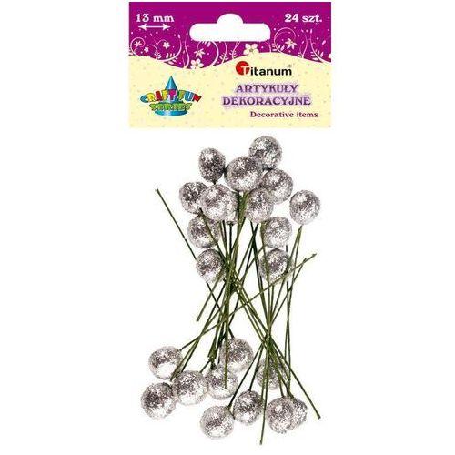 Brokatowe kulki na piku srebrne 13mm 24s craft-fun - srebrne marki Titanum