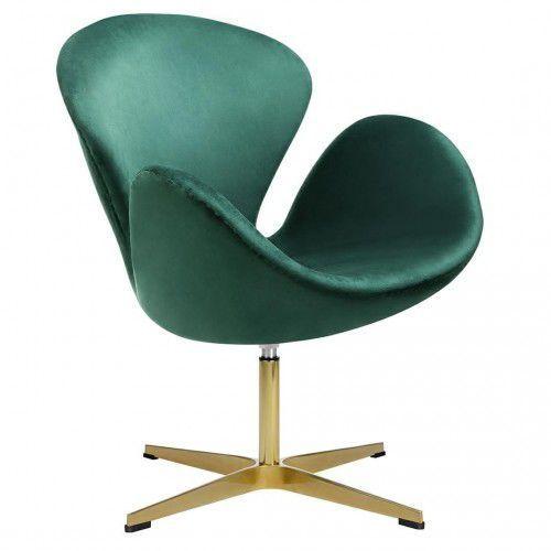 Kh Fotel swan velvet premium gold ciemny zielony - welur, podstawa złota