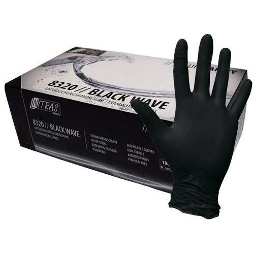 Nitrylowe rękawice ochronne Nitras Black Wave, bezpudrowe, czarne 100 szt - roz. XS