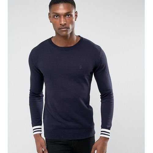 French connection tall crew neck knitted jumper with contrast cuff - navy
