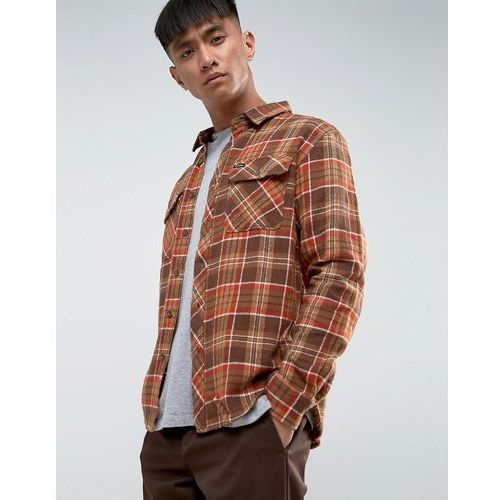 Brixton Bowery Flannel Check Shirt in Standard Fit - Brown