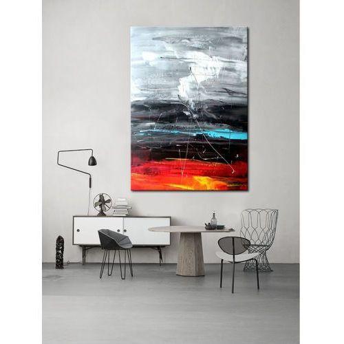 Obrazy do salonu - ręcznie malowane - czerwony, biały, czarny, niebieski marki Pracownia art.&texture