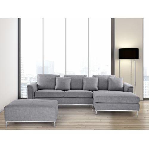 Sofa narożna z pufą w kolorze jasnoszarym L - kanapa tapicerowana - OSLO