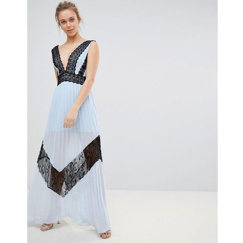 Glamorous Lace Insert Maxi Dress - Blue, kolor zielony
