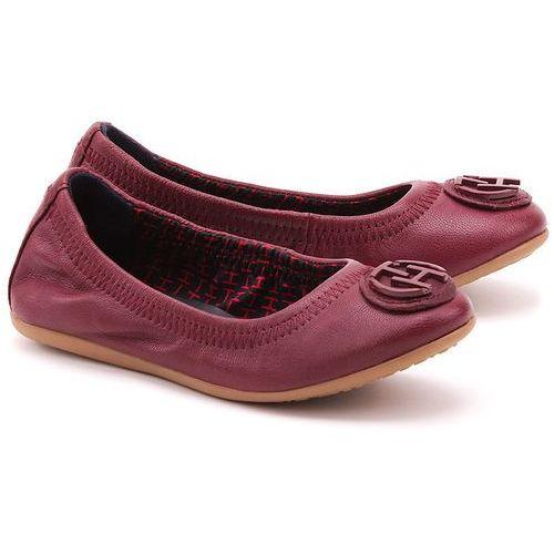 TOMMY HILFIGER Dahlia 18A - Bordowe Skórzane Baleriny Dziecięce - FG56818119 606 ze sklepu MIVO Shoes Shop On-line