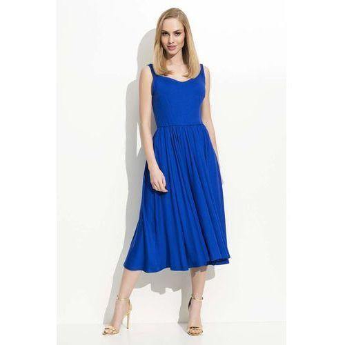 Chabrowa Sukienka Midi na Ramiączkach z Szerokim Dołem, kolor niebieski