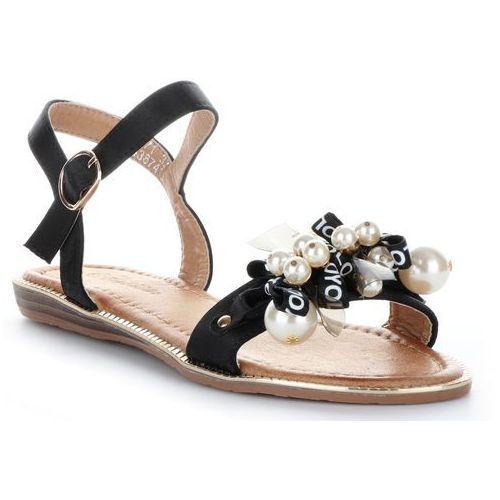 Oryginalne sandały damskie z koralikami czarne marki Gatisa