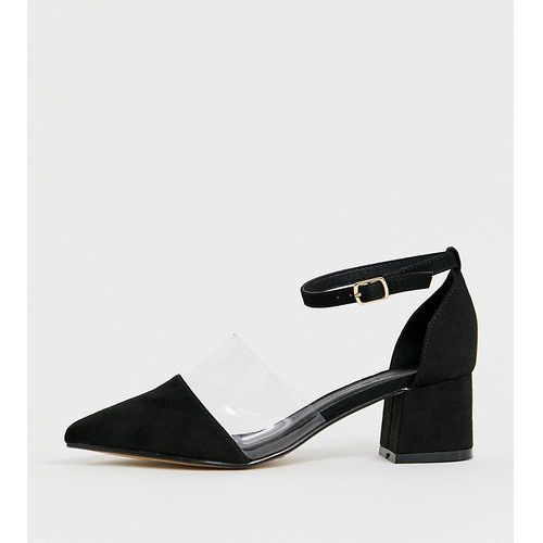 Truffle collection wide fit transparent pointed heels - black