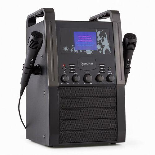 a8b-v2 bk zestaw karaoke odtwarzacz cd aux 2 x mikrofon czarny marki Auna