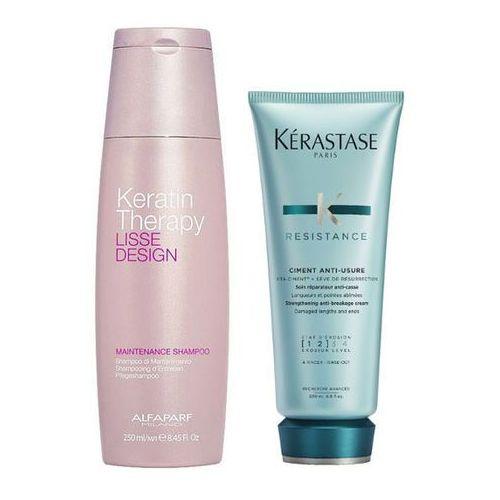 Alfaparf Keratin Therapy Maintenance and Ciment Anti-Usure | Zestaw do włosów: szampon podtrzymujący efekt wygładzenia 250ml + cement odbudowujący 200ml