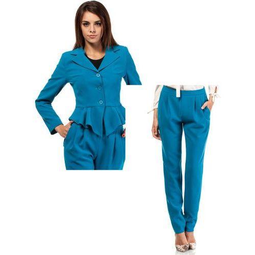 Zestaw Taliowany krótki żakiet i spodnie chino turkusowe