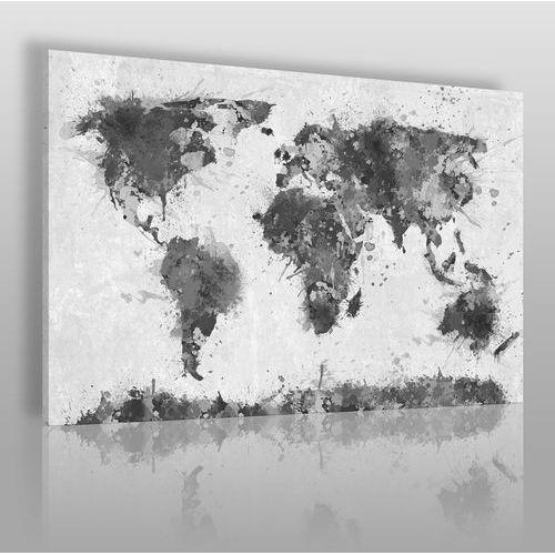 Mapa świata w czerni i bieli - nowoczesny obraz na płótnie marki Vaku-dsgn