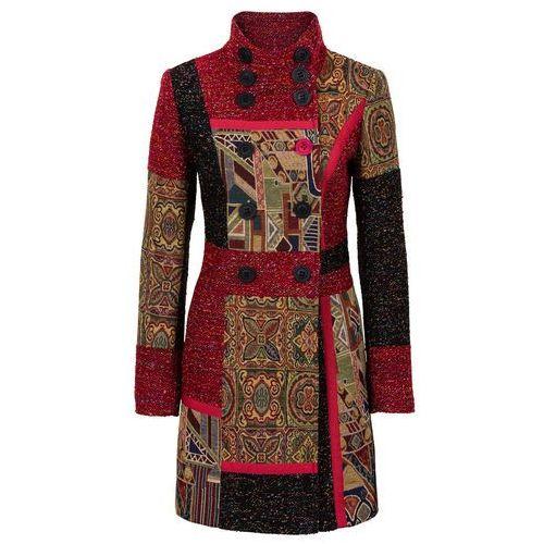 Płaszcz w połączeniu różnych materiałów i wzorów czerwono-kolorowy marki Bonprix