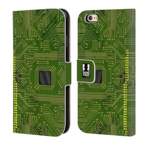 Etui portfel na telefon - circuit boards yellow green marki Head case