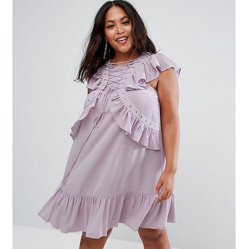 Asos curve swing tea mini dress with lace up & eyelet detail - purple