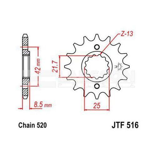 Jt sprockets Zębatka przednia jt f516-14, 14z, rozmiar 520 2200405 kawasaki kl 650, suzuki gs 500