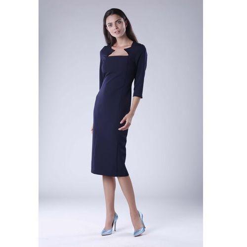 5078492776 Nommo Granatowa elegancka dopasowana sukienka za kolano z dekoltem caro  159