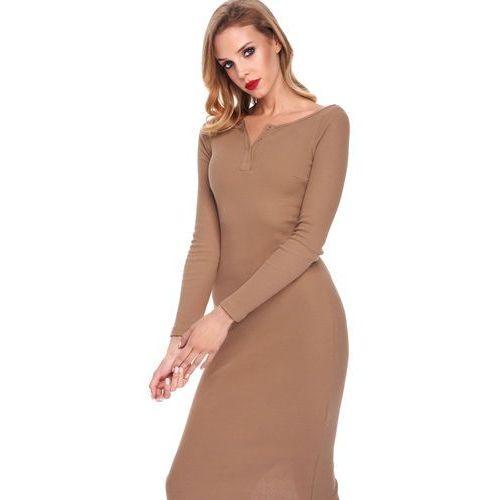 Sukienka amabel w kolorze camelowym, Sugarfree, 34-40