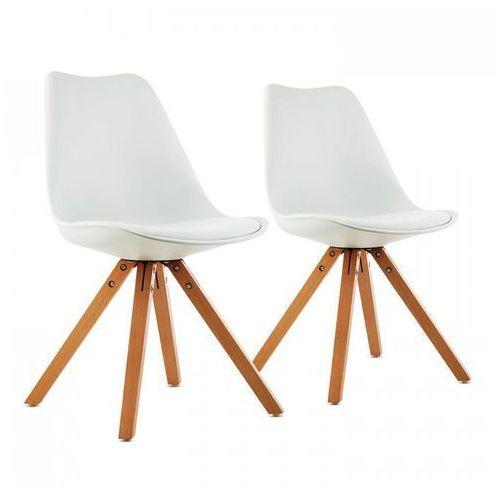 Oneconcept onassis fotel w stylu retro siedzisko tapicerka drewno brzozowe biały, 2 sztuki