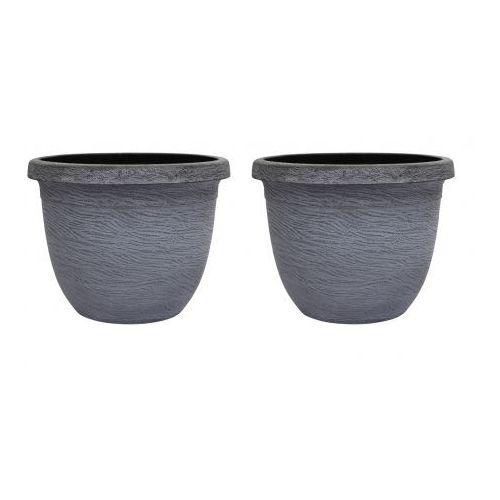 Doniczki na kwiaty szare x2 - oferta [0535d74333dfd4c0]