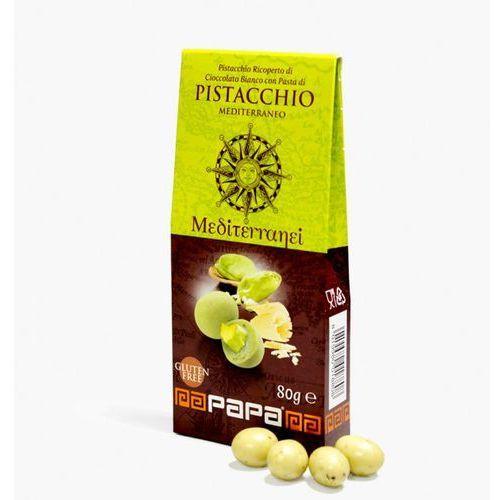 mediterranei pistacje w bialej czekoladzie z nutą pistacji 80 g marki Papa