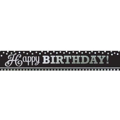 Baner happy birthday czarno-biały na urodziny - 7,6 m - 1 szt. marki Amscan