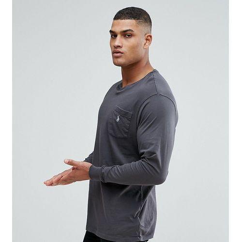 Polo ralph lauren big & tall long sleeve pocket t-shirt with logo in grey - grey