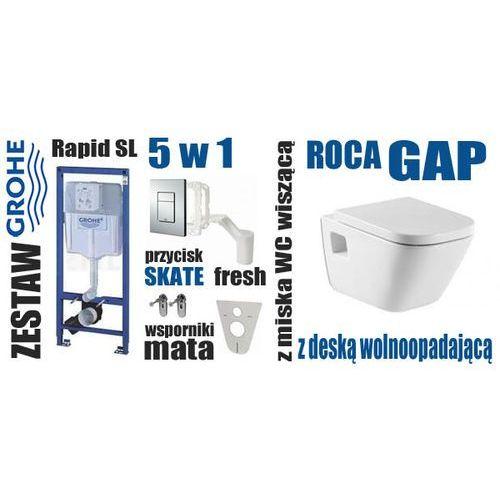 Zestaw podtynkowy WC GROHE Rapid SL 5 w 1 SKATE + miska ROCA GAP + DESKA WOLNOOPADAJĄCA ROCA GAP 801472 - produkt z kategorii- Stelaże i zestawy podtynkowe
