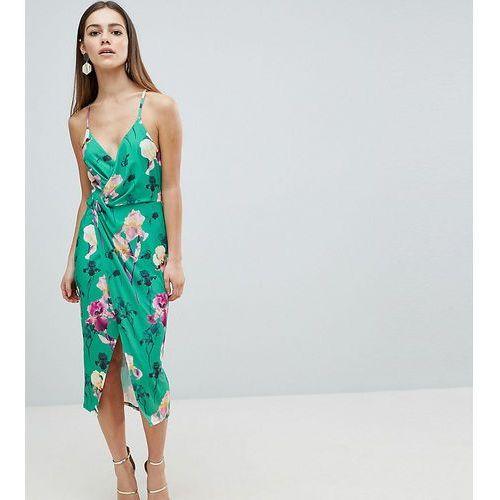 ASOS DESIGN Petite slinky floral cami drape midi dress - Multi