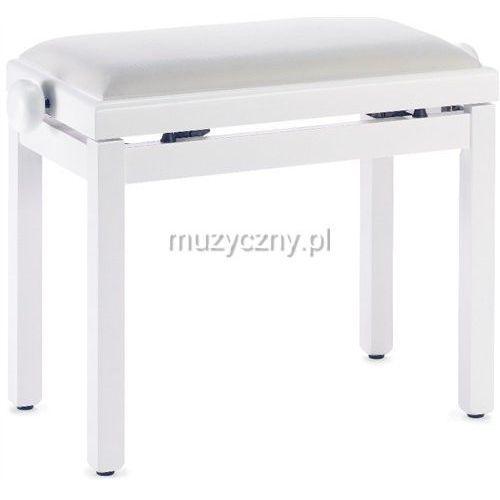 pb39 ława do pianina, biały mat, siedzisko biały welur (sztruks) marki Stagg