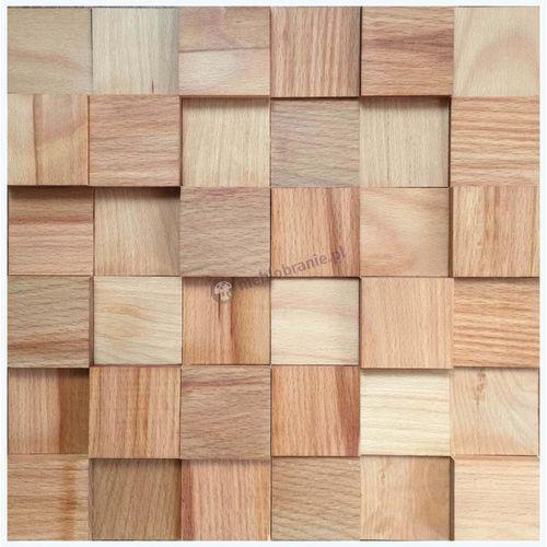 Panele drewniane Buk Europejski – Kostka 3d gładka *005 - Natural Wood Panels - produkt z kategorii- panele ścienne