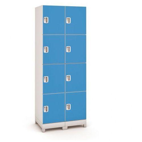 B2b partner Szafa z tworzywa sztucznego, 8 drzwi, niebieski