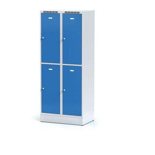 Metalowa szafka ubraniowa 4-drzwiowa na cokole, drzwi niebieske, zamek obrotowy
