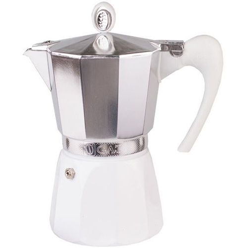 Duża kawiarka aluminiowa G.A.T. Diva 6 filiżanek, biała