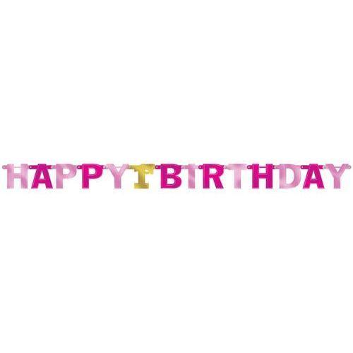Baner różowy na roczek 1 urodziny - 213 cm marki Amscan