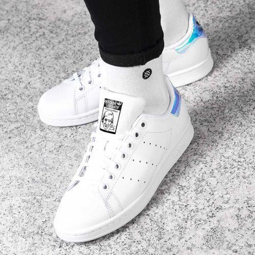 Adidas STAN SMITH J 272 FOOTWEAR WHITE METALLIC SILVER FOOTWEAR WHITE - Buty Damskie Sneakersy, kolor biały