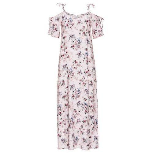 8f668ddc81 Długa sukienka z wiązanymi ramiączkami bonprix jasnoróżowy w kwiaty