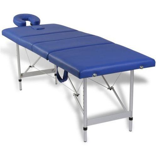 vidaXL Niebieski składany stół do masażu 4 strefy z aluminiową ramą - sprawdź w wybranym sklepie