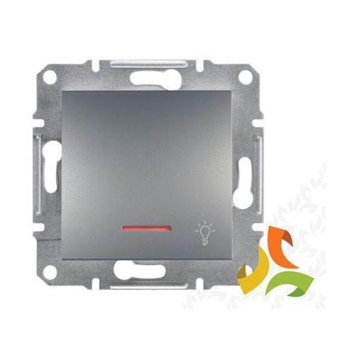 ASFORA Wyłącznik zwierny przycisk światło podświetlany stal EPH1800162 SCHNEIDER, EPH1800162/SCH