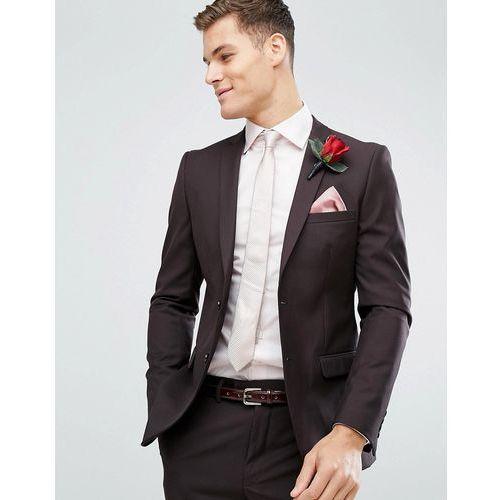 skinny wedding suit jacket in dark burgundy - red marki French connection