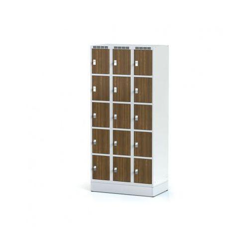 Alfa 3 Szafka ubraniowa 15 drzwi 300x300 mm na cokole, drzwi lpw, orzech, zamek obrotowy